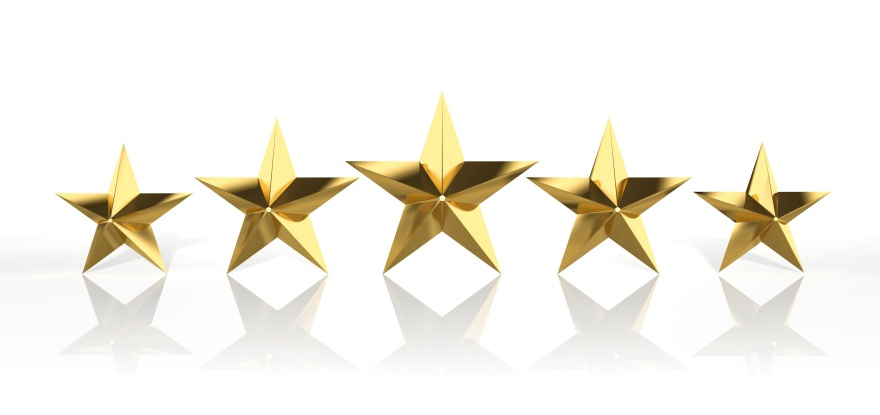 Five golden stars isolated on white background