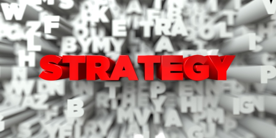 STRATEGY -   3D stock image of Red text on white background