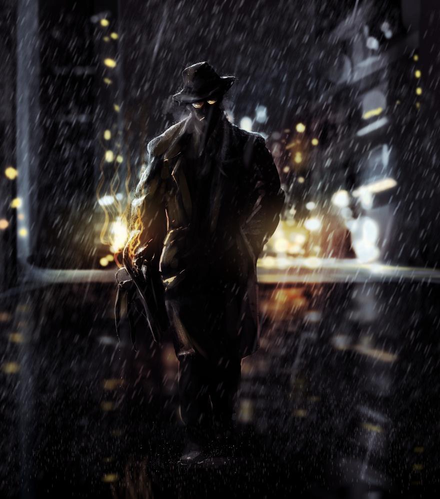 Detective walking at night city lights.