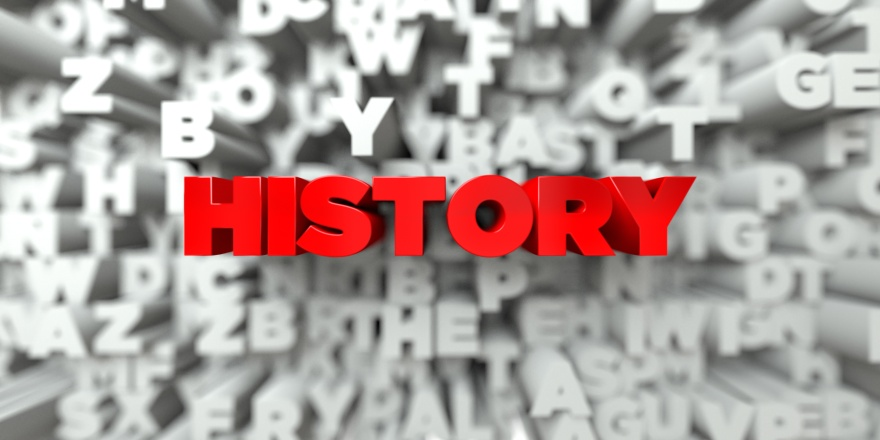 HISTORY -   3D stock image of Red text on white background