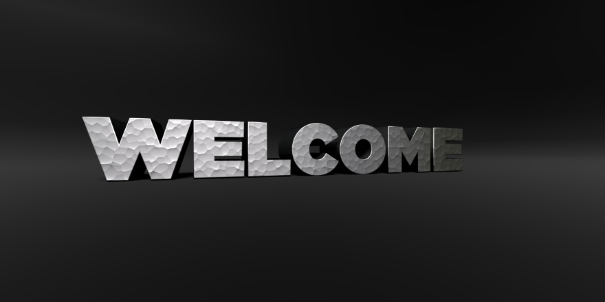 WELCOME - metal finish text on black studio - 3D rendered stock photo