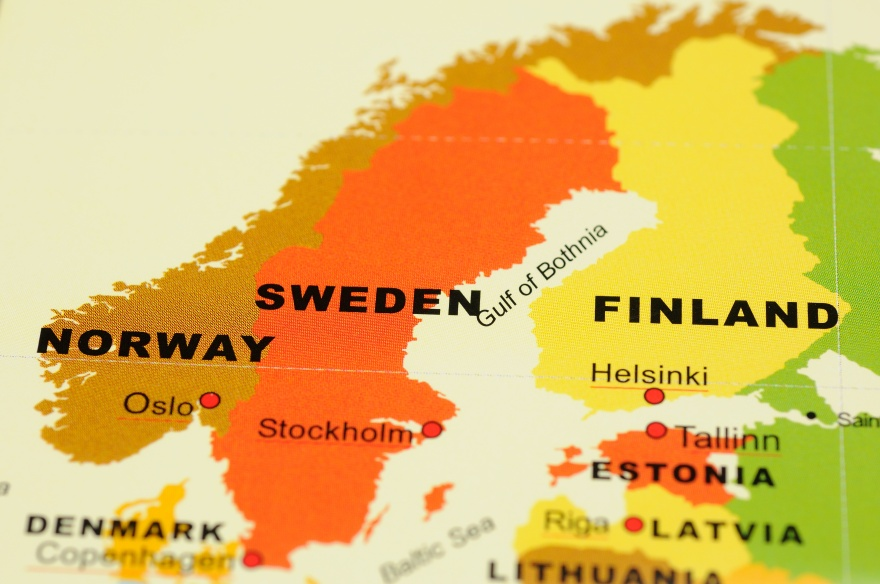 Close up of Norway, Sweden and Finland on map