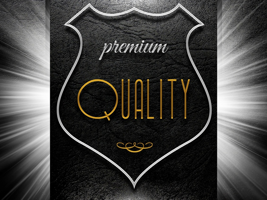 Premium quality sign on black leather